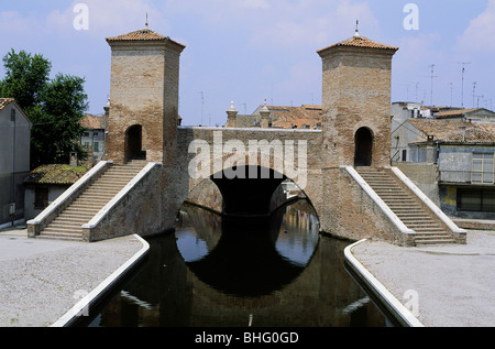 geography / travel, Italy, Ravenna, bridges, Comacchio, bridges, Treponti bridge, Additional-Rights-Clearance-Info - Stock Photo