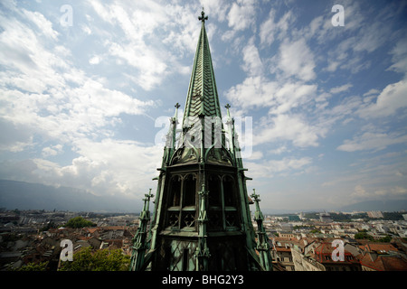 church tower of the cathedral of St. Peter in Geneva, Switzerland, Europe - Stock Photo