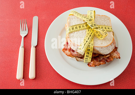 Bacon sandwich and tape measure - Stock Photo
