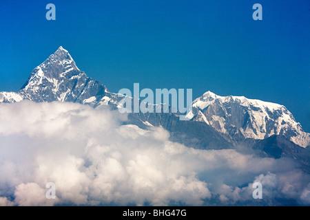 Machapuchare and annapurna peaks - Stock Photo