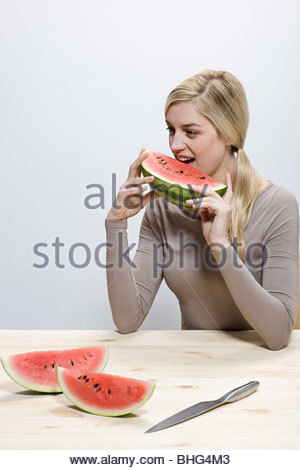 Woman eating watermelon slices - Stock Photo