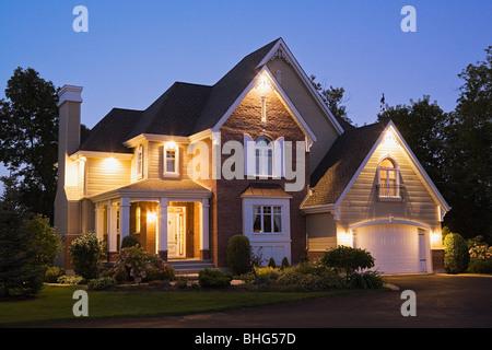 Large house illuminated - Stock Photo