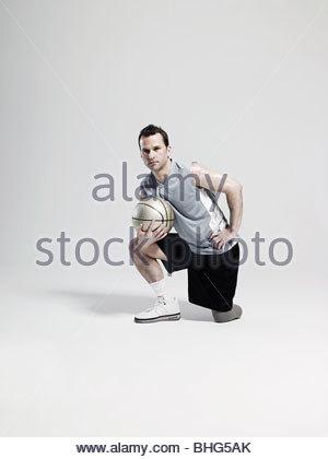 Basketball player with amputated leg - Stock Photo