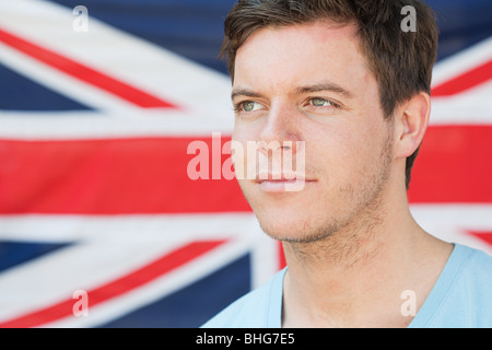 Young man and british flag - Stock Photo