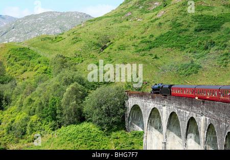 Steam train on glenfinnan viaduct - Stock Photo