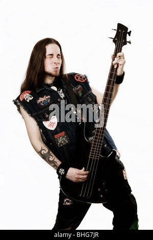 Heavy metal bass player - Stock Photo