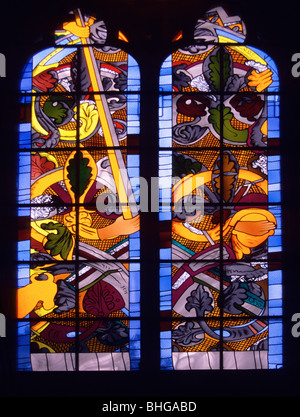 Stained glass window by Jean-Michel Alberola in Nevers Cathedral, France portraying Abraham about to sacrifice Isaac - Stock Photo