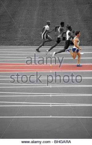 Sprinters on race track - Stock Photo