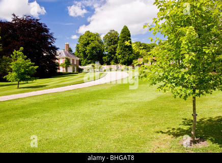 Sweeping drive through parkland up to a typical English country house - Stock Photo