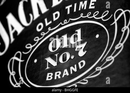 Close-up of Jack Daniels Old No.7 Brand Label - Stock Photo