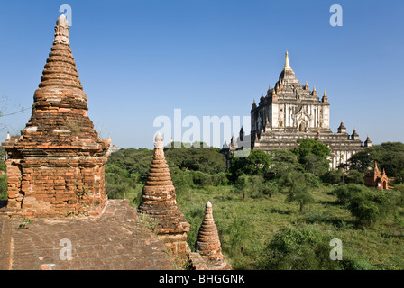 Bagan temples. On the background the Thatbyinnyu temple. Myanmar - Stock Photo