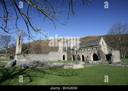 The ruined remains of the CADW managed Valle Crucis Abbey at Llantysilio near Llangollen. - Stock Photo