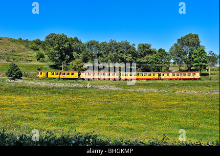 Train jaune in Pyreneans mountains, Languedoc Roussillon, France. - Stock Photo