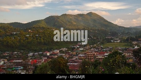 View of the city of Kalaw in Shan State, Myanmar, Burma - Stock Photo
