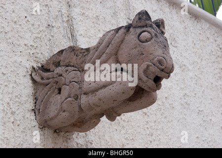 An ornate rain spout architectural detail on a residence in Ajijic, Mexico.