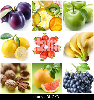 collection of images on the theme of 'fruits' - Stock Photo
