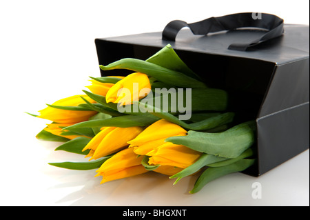Yellow tulips in black paper bag with white background - Stock Photo