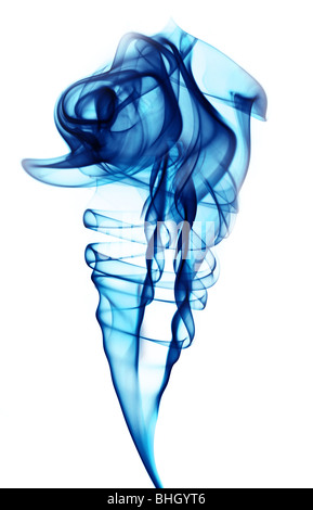Jet of blue smoke against a white background - Stock Photo