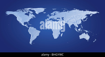 A blue world map against a dark blue background. - Stock Photo