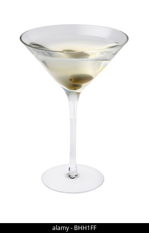 Dirty Martini mixed drink with olive garnish close up on a white background - Stock Photo