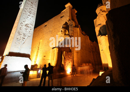 Nightview over the Luxor Temple entrance - Stock Photo