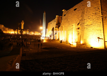 Night view over the Luxor Temple walls in Egypt - Stock Photo