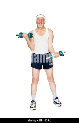 Senior man strength training. - Stock Photo