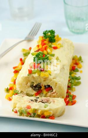 Potato roll. Step by step: P9Y6GK-P9Y6HC-P9Y6HH-P9Y6J8 - Stock Photo