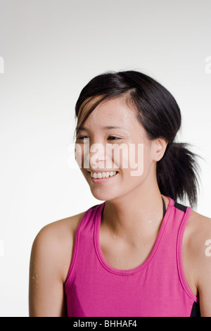 Woman sweating. - Stock Photo