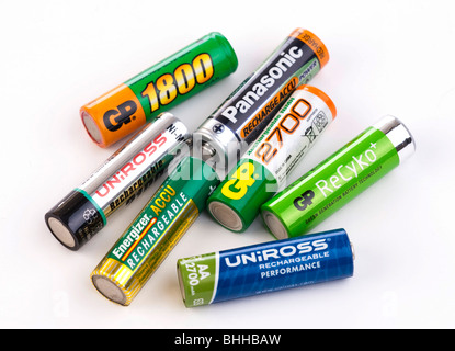 various nickel metal hydride NiMh rechargeable 1.5 volt batteries (cells) - Stock Photo