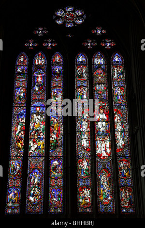 Beautiful stained glass window by Hardman in the north transept of Hereford Cathedral as a memorial of Archdeacon - Stock Photo