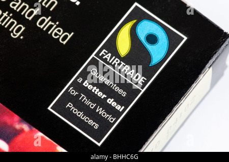 Fairtrade logo on food packaging - Stock Photo