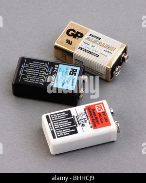 various types of PP3 9 volt batteries - Stock Photo