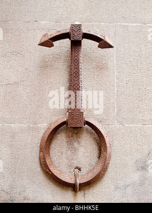 Rein ring attached to wall in Italy. - Stock Photo