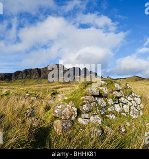 Crumbling stone wall of old croft building with the Storr in distance, Trotternish, Isle of Skye, Scotland - Stock Photo