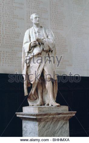 Statue of Sir Isaac Newton, Trinity College Chapel, Cambridge, Cambridgeshire.  Artist: S Waterson - Stock Photo