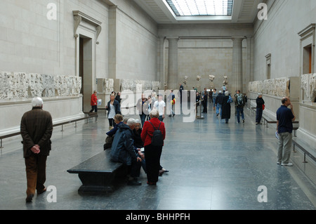 A view of the Elgin Marbles in the British Museum London - Stock Photo