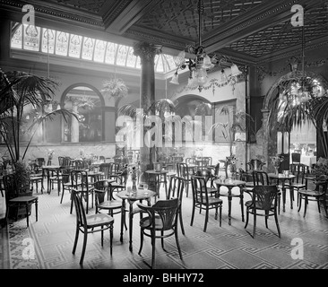 The winter garden in the Monico Restaurant. Shaftesbury Avenue, Westminster, London, 1915. Artist: Bedford Lemere - Stock Photo
