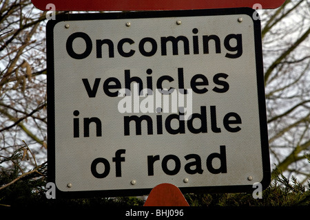 Oncoming vehicles in middle of road sign - Stock Photo