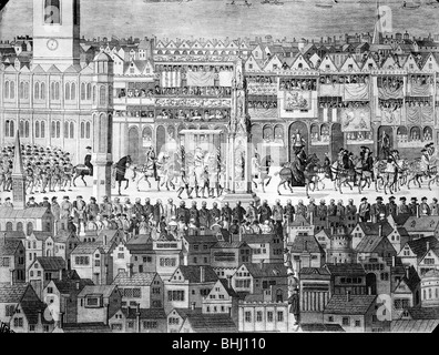 Procession of Edward VI along Cheapside, City of London, c1550. - Stock Photo