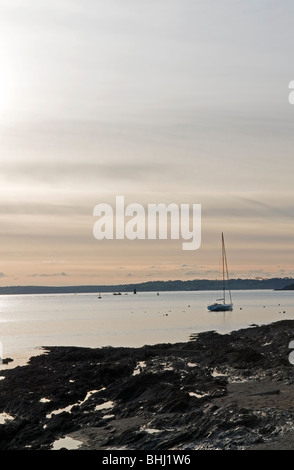 Dusk at St Mawes in Cornwall England UK - Stock Photo