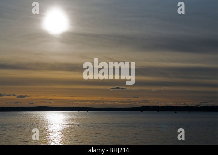 View from ferry across St Maves to Falmouth at sunset, Cornwall England UK - Stock Photo