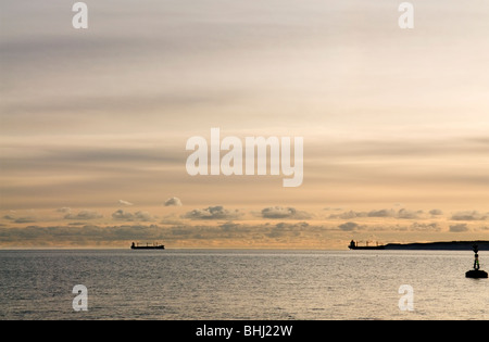 View from ferry across St Maves to Falmouth at dusk, Cornwall England UK - Stock Photo
