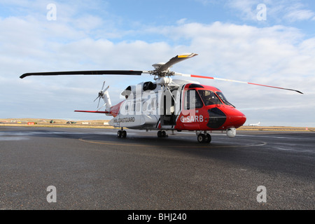 Sikorsky S 92 helicopter used by the Uk Coastguard for Search and Rescue, based at Sumburgh in Shetland, off the - Stock Photo