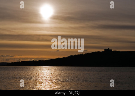 View from ferry from St Maves to Falmouth at sunset, Cornwall England UK - Stock Photo