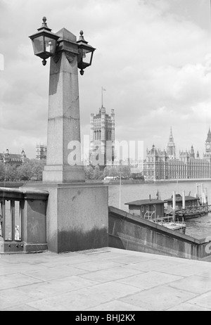 View across the River Thames towards the Palace of Westminster, London, c1945-c1965. Artist: SW Rawlings - Stock Photo