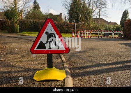 Road works ahead traffic road sign in Seer Green Buckinghamshire UK - Stock Photo