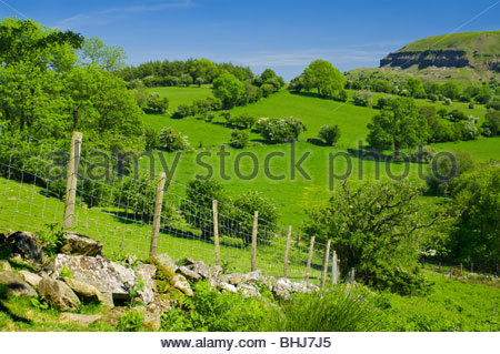 Welsh countryside in spring; Powys, Wales, UK - Stock Photo