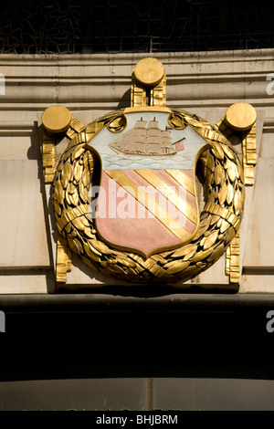 City crest on the Central Reference Library in St Peter's Square Manchester - Stock Photo