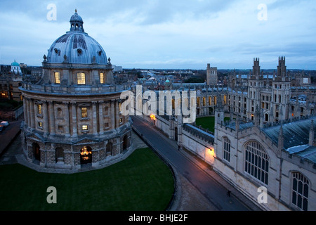 View of All Souls College and Radcliffe Square from St Mary's Church Steeple, Oxford, Uk - Stock Photo